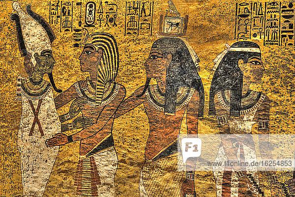 Grußwort an König Tutanchamun (Mitte)  Grab des Tutanchamun  KV #62  Tal der Könige  UNESCO-Weltkulturerbe; Luxor  Ägypten