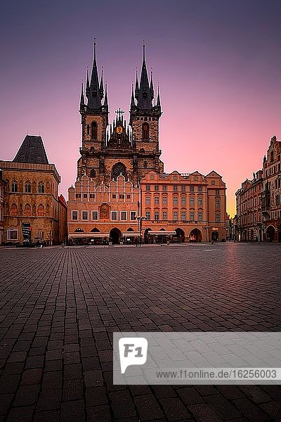 Prague  Czech Republic - March 10  2019: Dawn in the Old Town Square in the historical city centre of Prague.
