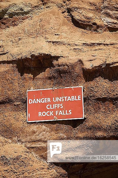 Seaton  Devon  England  UK. June 2019. Danger of cliffs and rock falls along the Jurassic coast at Seaton  Devonshire