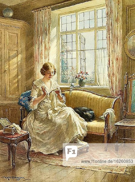 Blacklock William Kay - an Interior Scene with a Young Lady Seated on a Sofa Sewing - British School - 19th Century.