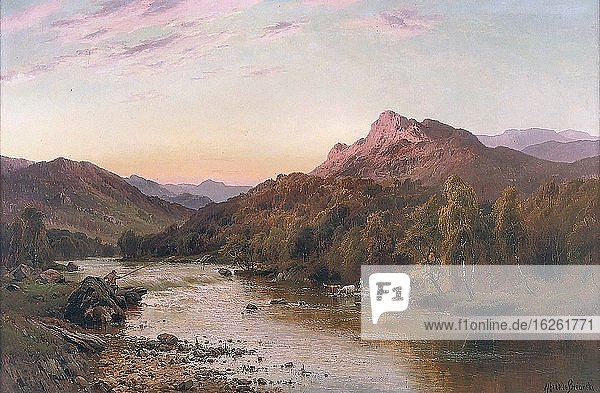 Breanski I  alfred de - An Angler in a Mountainous River Landscape  with Highland Cattle Watering on the Bank - 16204358225_fa4bc79e90_o.