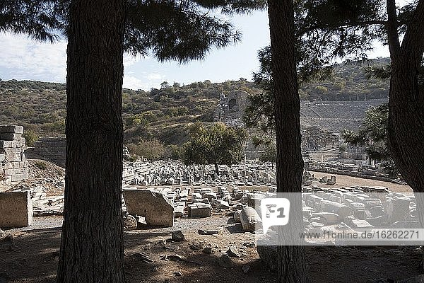 Ruins and the great theater in the Roman ruined city of Ephesus. Turkey.