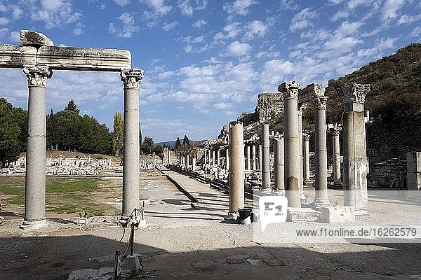 Augustus Gate leads to the Commercial Agora at Ephesus  a public open space used for assemblies and markets. Agoran in the Roman ruined city of Ephesus. Turkey.