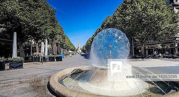 Unusual fountain in the Place Drouet d'Erlon  Reims  France.