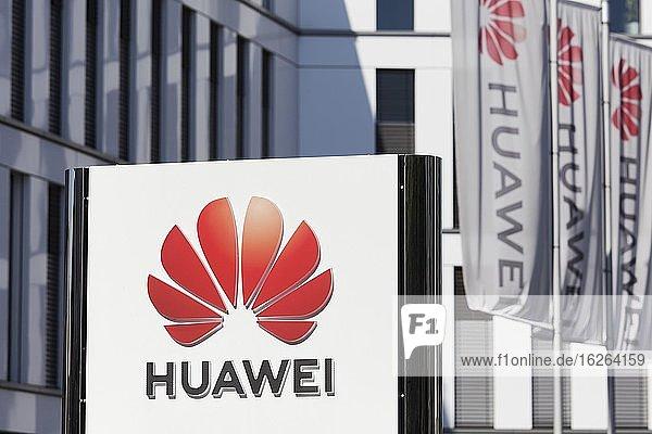 Logo on the European headquarters of Huawei Technologies in Düsseldorf  North Rhine-Westphalia  Germany  Europe