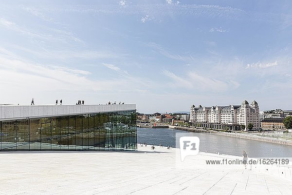 New Opera House Oslo  by architects Snøhetta  former harbour warehouse  Havnelageret  today office building  Bjørvika district  Oslo  Norway  Europe