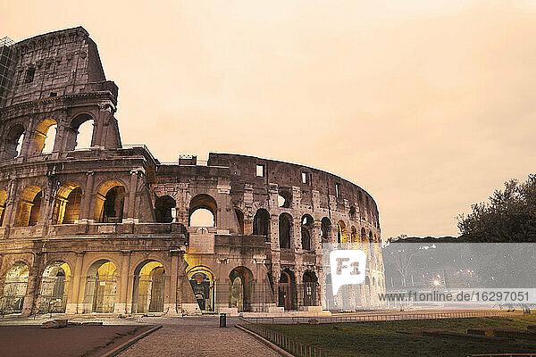 Italy  Lazio  Rome  Colosseum in the evening
