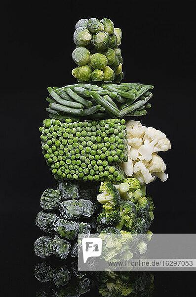Various deep frozen vegetables  close up