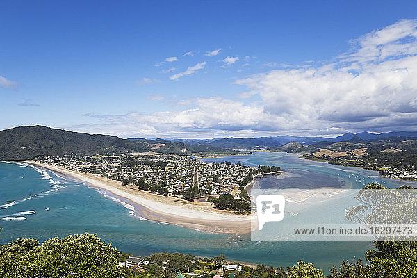 New Zealand  Coromandel Peninsula  View of Pauanui village and beach
