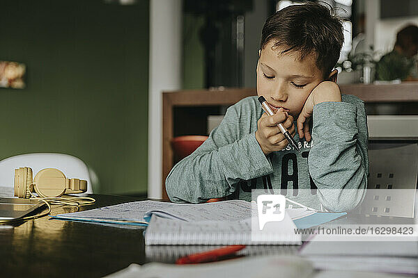 Schoolboy learning at home  head in hands  solving problem