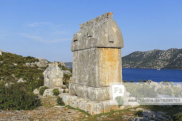 Turkey  Lycia  Lycian Coast  Demre  ancient sarcophagus