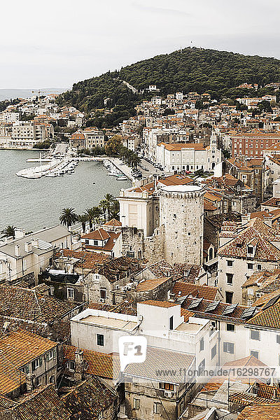 Croatia  Split  View of old town from bell tower of Sv Duje cathedral