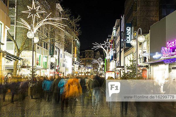 Germany  North Rhine-Westphalia  Cologne  shopping street Schildergasse by night