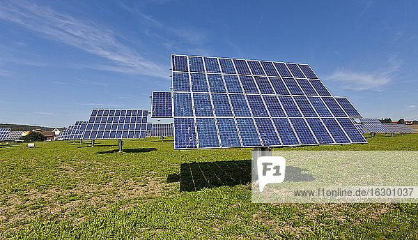 Germany  Bavaria  Solar panels on grass