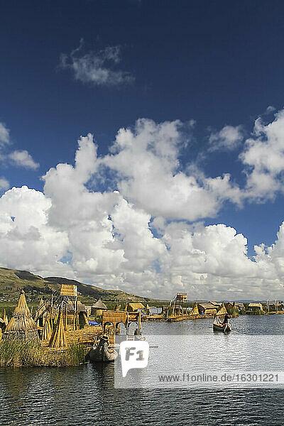 South America  Peru  Puno  Lake Titicaca  traditional boats of the Uros