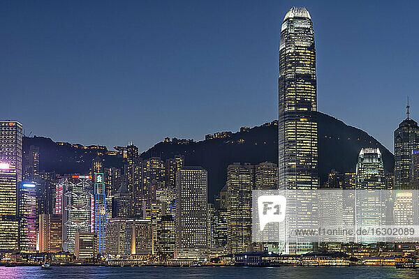 China  Hong Kong  downtown city centre by night
