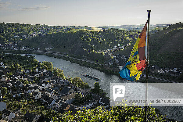 Germany  Rhineland-Palatinate  Moselsteig  view to Lehmen and Niderfell with flag in the foreground  elavated view