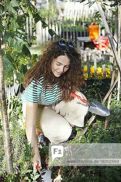 Young brunette woman with hand trowels in garden