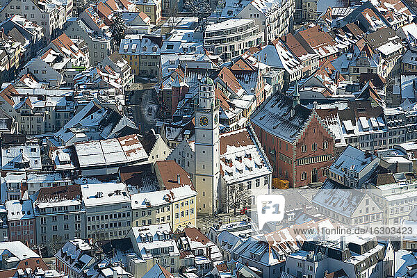 Germany  Baden-Wuerttemberg  Ravensburg  Cityscape in winter  aerial view
