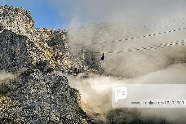 Spain  Cantabria  Picos de Europa National Park  Cable car at mountain massif Pena Remona