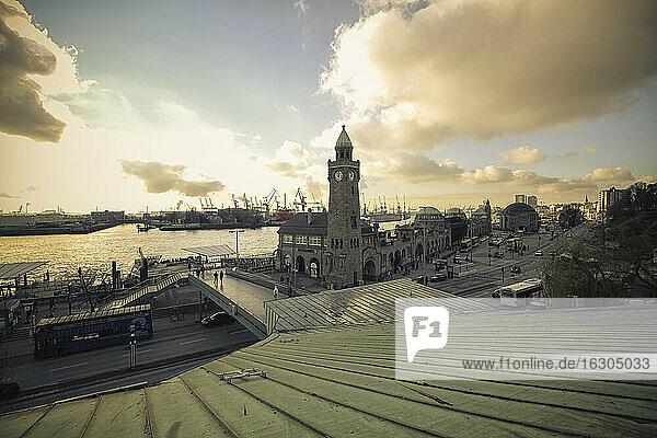 Germany  Hamburg  Port of Hamburg  St. Pauli Landing Stages at Elbe river
