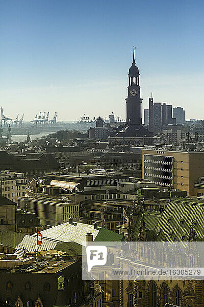 Germany  Hamburg  Cityscape from St. Petri church with St. Michaelis Church and harbor