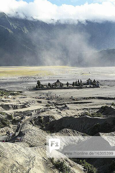Indonesia  Java  Bromo Tengger Semeru National Park  Pura Luhur Poten Hindu temple  tourists at volcano Mount Bromo