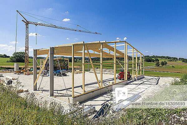 Germany  Baden-Wurttemberg  Wooden frame of new building under construction