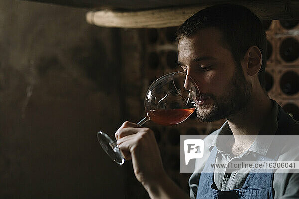 Young bearded man drinking wine from glass at cellar