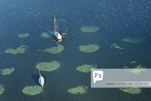 Germany  Baden-Wurttemberg  Lake Constance  Sailing boats anchoring at Zell Lake