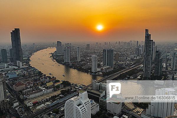 Thailand  Bangkok  Aerial view of capital city downtown at sunset