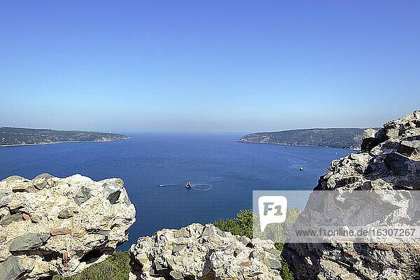 Turkey  Anadolu Kavagi  View from Yoros castle ruin to the sea
