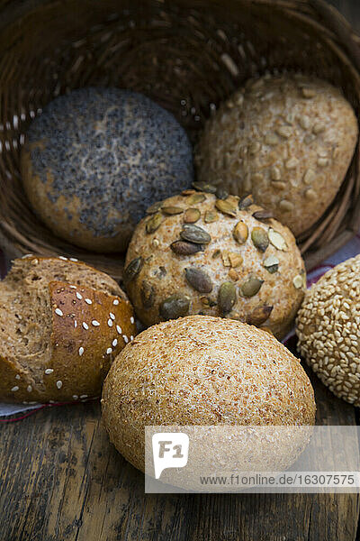 Different whole meal bread rolls  Bread basket