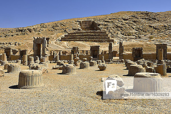 Iran  Achaemenid archeological site of Persepolis  ruins of the hall of the hundred columns and grave of Artaxerxes II