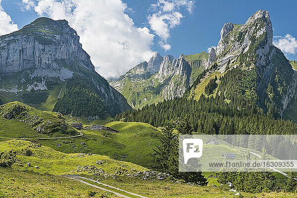 Switzerland  Appenzell  Alpstein  View to Widderalpstoeck
