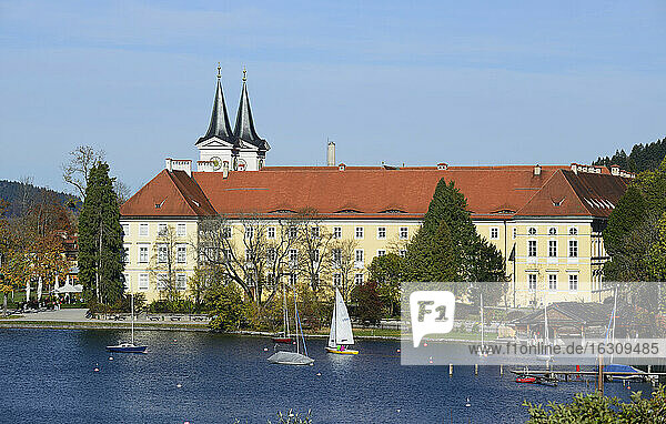 Germany  Bavaria  Upper Bavaria  lake Tegernsee  palace and parish church St. Quirinus  former Tegernsee Abbey