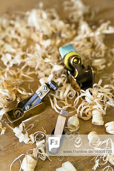 Splints in a workshop of a guitar maker