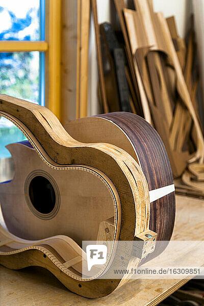 Workshop of a guitar maker