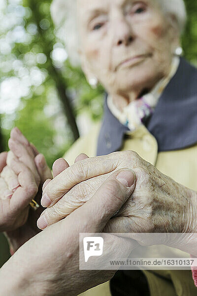 Germany  North Rhine Westphalia  Cologne  Senior woman holding hands of mature woman  close up