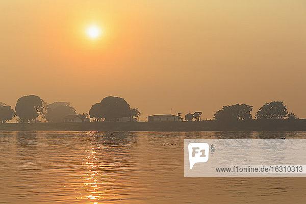 Brazil  Mato Grosso do Sul  Pantanal  Cuiaba River  Forest fire at sunrise