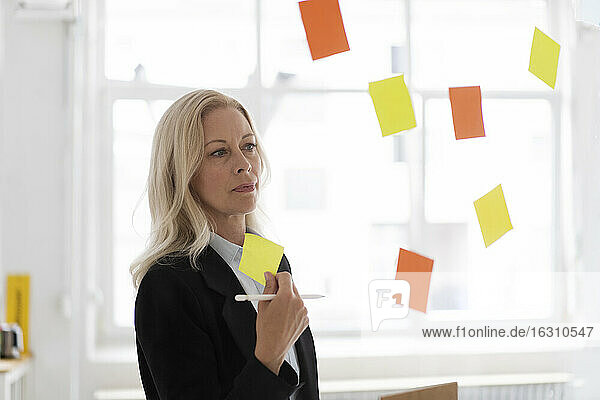 Businesswoman holding adhesive note contemplating in home office seen through window