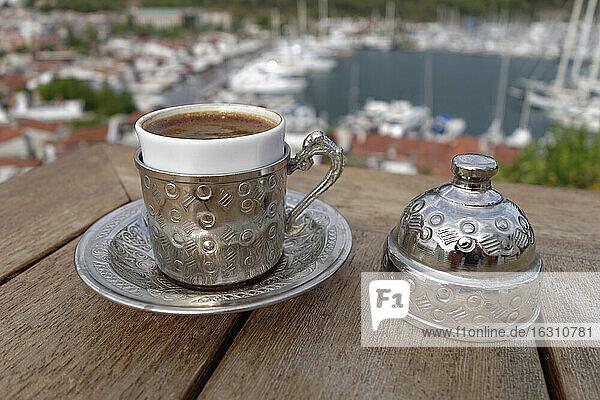 Turkey  Mugla Province  Marmaris  Turkish coffee in traditional silver cup