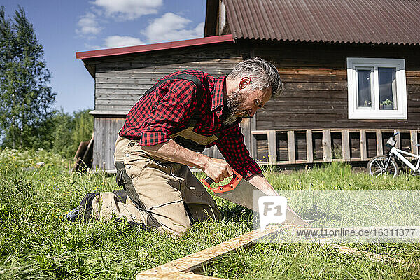 Carpenter working with hand saw cutting plank for playhouse on sunny day
