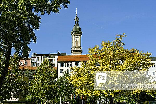 Germany  Upper Bavaria  Traunstein  parish church Saint Oswald from Karl-Theodor-Platz