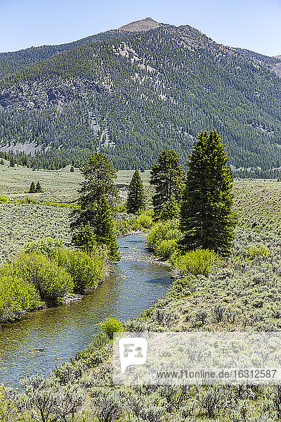 USA  Idaho  Sun Valley  Landscape with river and mountains
