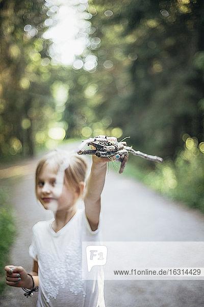 Porträt eines Mädchens mit Stöcken im Wald