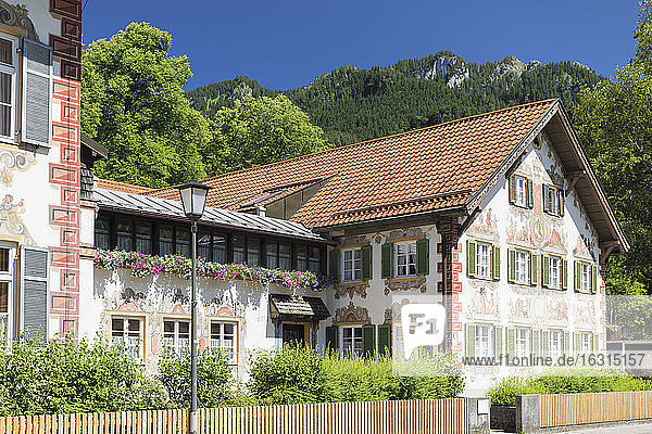 Traditional Paintings on Hansel und Gretel House  Oberammergau  Ammertal Valley  Bavarian Alps  Upper Bavaria  Germany  Europe