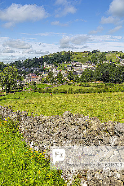 View of dry stone walls and Brassington  Derbyshire Dales  Derbyshire  England  United Kingdom  Europe