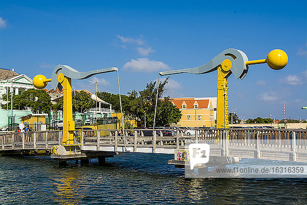Lift bridge in Willemstad  Curacao  ABC Islands  Dutch Antilles  Caribbean  Central America