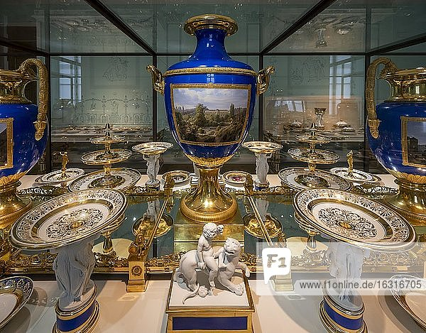 Tableware  gold decorated porcelain tableware  princely table  table culture of the 18th and 19th century  Munich Residence  Munich  Upper Bavaria  Bavaria  Germany  Europe